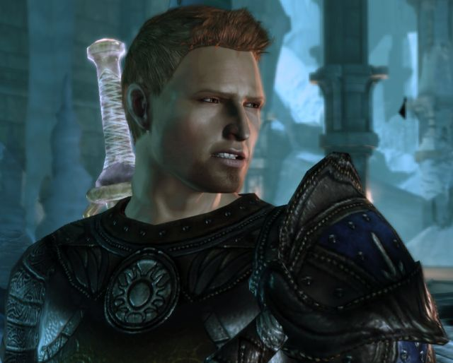 Alistair from Dragon Age gazing to the left with a disgusted expression