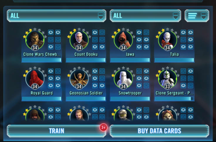Star Wars Galaxy of Heroes Roster